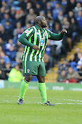 Bayo Akinfenwa of AFC Wimbledon shouts his orders during the Sky Bet League 2 match between Portsmouth and AFC Wimbledon at Fratton Park, Portsmouth, England on 15 November 2015. Photo by Stuart Butcher.