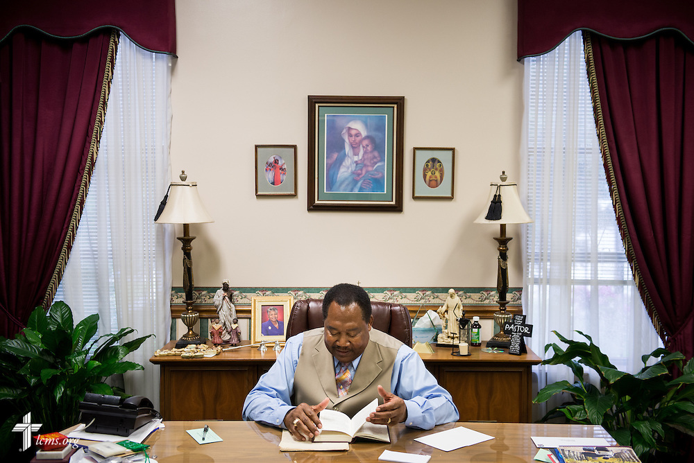 The Rev. Ulmer Marshall works in his office before worship at Trinity Lutheran Church on Sunday, April 6, 2014, in Mobile, Ala. LCMS Communications/Erik M. Lunsford