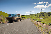 Lorry driving through Te Apiti Windfarm