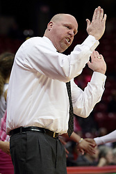 05 February 2016:  Coach Joey Wells. Illinois State University Women's Redbird Basketball team hosted the Sycamores of Indiana State for a Play4 Kay game at Redbird Arena in Normal Illinois.