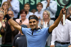 HALLE, June 24, 2017  Roger Federer of Switzerland celebrates after winning the men's singles semifinal match against Karen Khachanov of Russia in the Gerry Weber Open 2017 in Halle, Germany, on June 24, 2017. (Credit Image: © Joachim Bywaletz/Xinhua via ZUMA Wire)