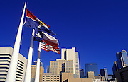 Image of the downtown Dallas skyline with flags, Dallas, Texas, American South