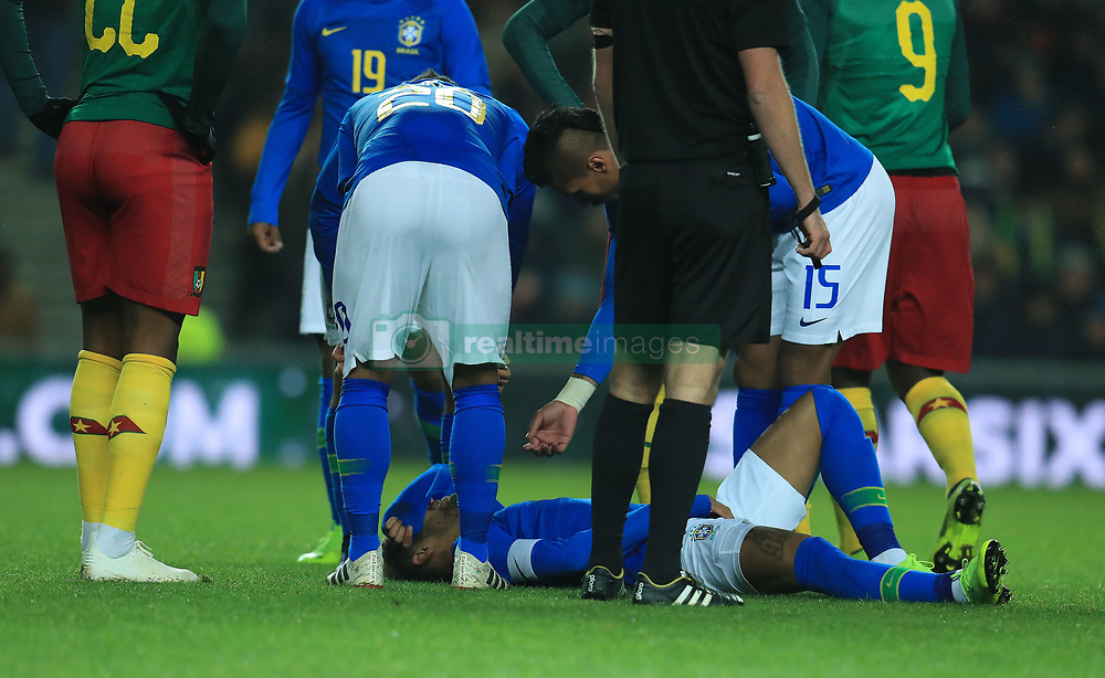Brazil's Neymar leaves the field injured during the international friendly match at Stadium MK, Milton Keynes.