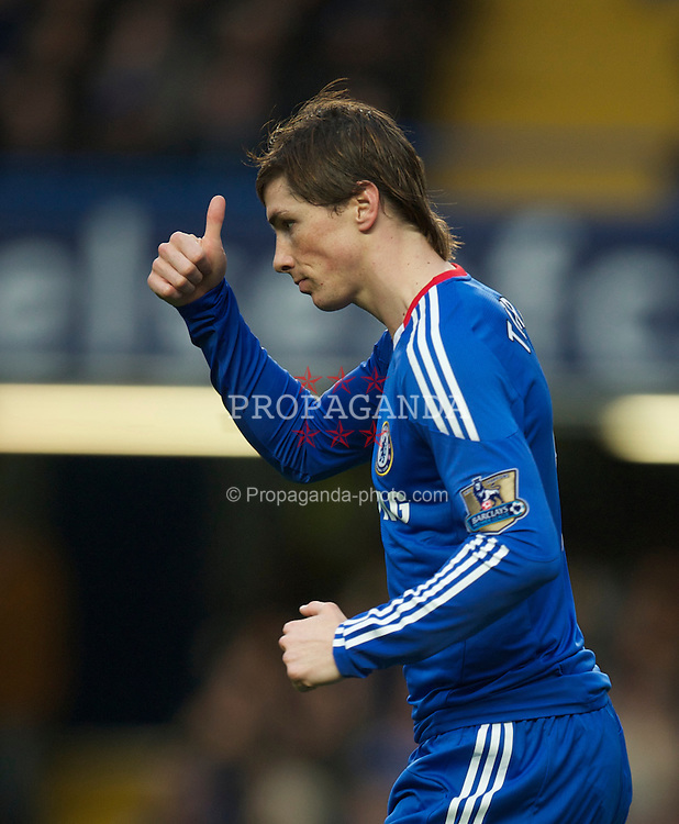 LONDON, ENGLAND - Sunday, February 6, 2011: Chelsea's new £50m signing Fernando Torres in action on his debut against his former club Liverpool during the Premiership match at Stamford Bridge. (Photo by David Rawcliffe/Propaganda)