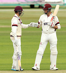 Somerset's Marcus Trescothick and Somerset's Tom Abell - Photo mandatory by-line: Robbie Stephenson/JMP - Mobile: 07966 386802 - 21/06/2015 - SPORT - Cricket - Southampton - The Ageas Bowl - Hampshire v Somerset - County Championship Division One