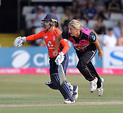 Sophie Devine bowls past Tammy Beaumont during the international T20 Final between England Women and the White Ferns at the County Ground, Chelmsford. Photo: Graham Morris/www.photosport.nz 01/07/18