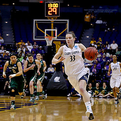 Mar 24, 2013; Baton Rouge, LA, USA; Penn State Lady Lions guard Maggie Lucas (33) drives down court against the Cal Poly Mustangs in the second half during the first round of the 2013 NCAA womens basketball tournament at the Pete Maravich Assembly Center. Penn State defeated Cal Poly 85-55. Mandatory Credit: Derick E. Hingle-USA TODAY Sports