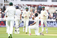 Hasan Ali of Pakistan celebrates after talking the wicket of Dawid Malan on Day One of the NatWest Test Match match at Lord's, London<br /> Picture by Simon Dael/Focus Images Ltd 07866 555979<br /> 24/05/2018