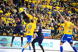 William Accambra and Drasko Nenadic vs Nikola Karabatic during handball match between RK Celje Pivovarna Lasko (SLO) and Paris Saint-Germain HB (FRA) in VELUX EHF Champions League 2018/19, on February 24, 2019 in Arena Zlatorog, Celje, Slovenia. Photo by Peter Podobnik / Sportida