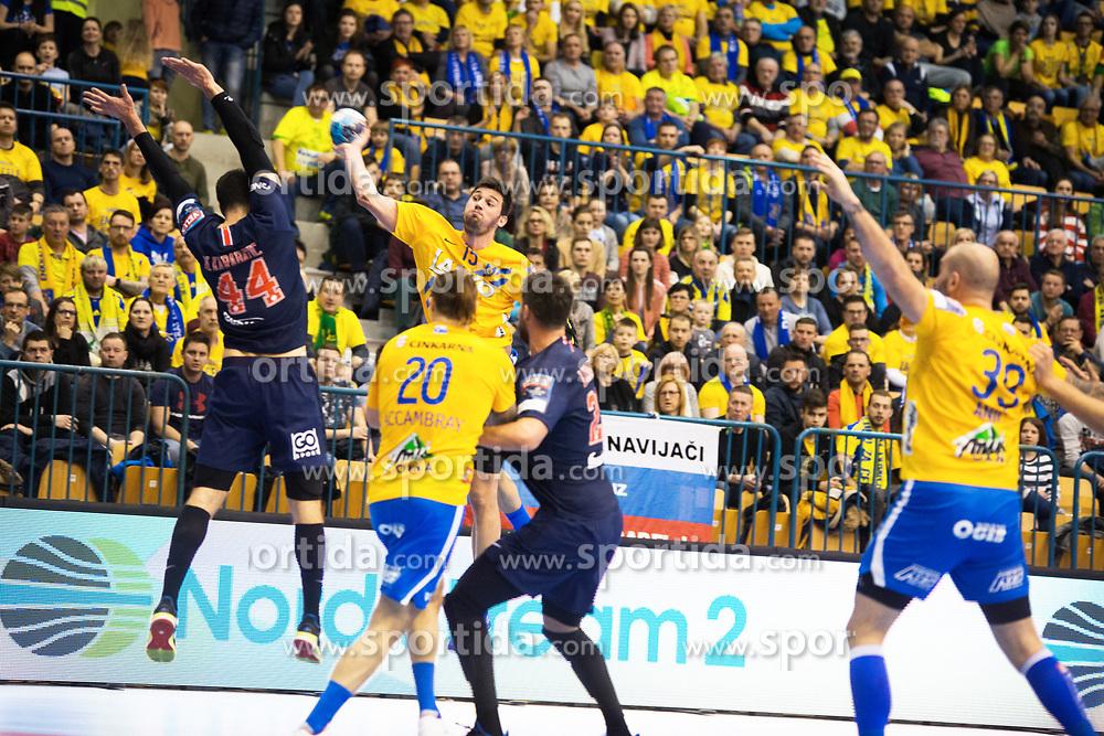 William Accambra and Drasko Nenadic vs Nikola Karabatic during handball match between RK Celje Pivovarna Lasko (SLO) and Paris Saint-Germain HB (FRA) in VELUX EHF Champions League 2018/19, on February 24, 2019 in Arena Zlatorog, Celje, Slovenia. Photo by Peter Podobnik / Sportida