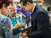 27 JULY 2019 - DES MOINES, IOWA: JULIÁN CASTRO autographs his book after a NARAL town hall in Des Moines Saturday. The town hall was about preserving women's health care choices, but Castro also used as an opportunity to talk about the differences between him and President Donald Trump. Castro, the Secretary of Housing and Urban Development during the Obama administration, is running to be the Democratic candidate for President in 2020. Iowa traditionally hosts the first event of the Presidential selection season. The Iowa Caucuses will be on Feb. 3, 2020.   PHOTO BY JACK KURTZ