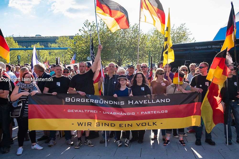 Far-right demonstrators protest against Islam, refugees and Angela Merkel in Berlin