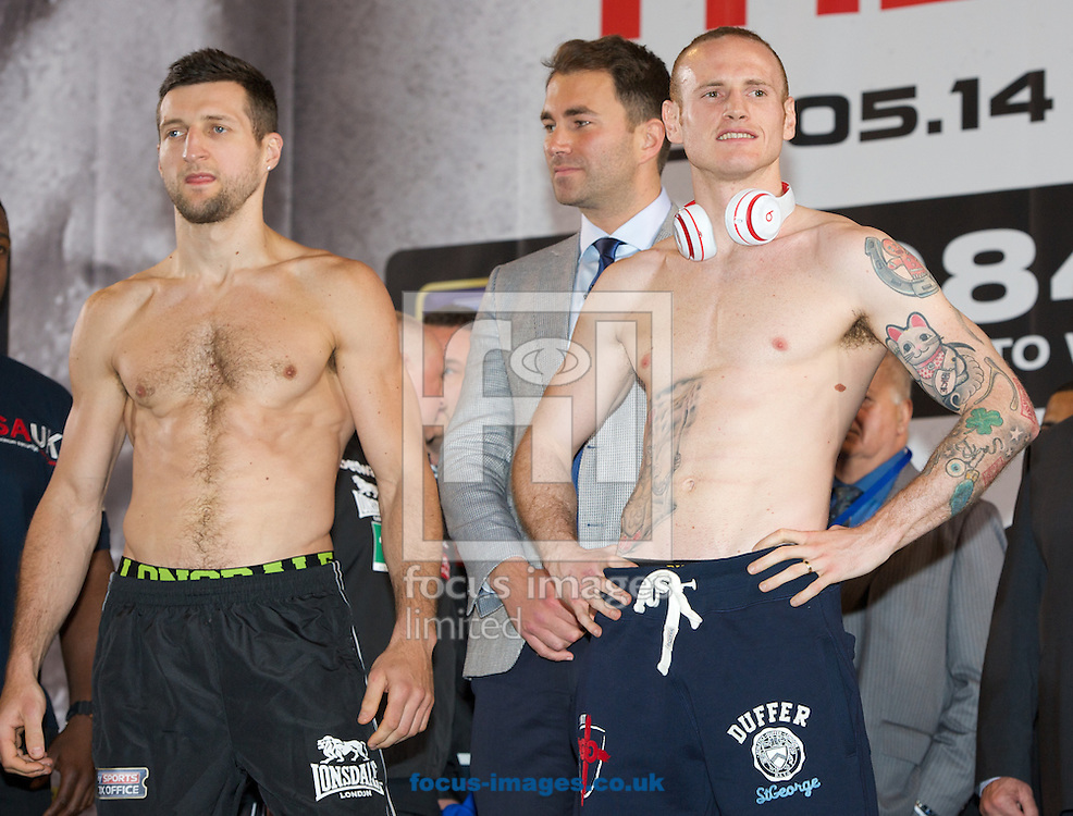 Pictures showing Carl Froch (L) Promoter Eddie Hearn and George Groves  during the Froch v Groves Weigh In at Wembley Arena, London<br /> Picture by Alan Stanford/Focus Images Ltd +44 7915 056117<br /> 30/05/2014