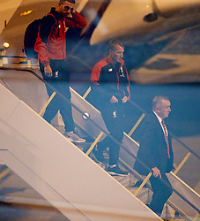 ADELAIDE, AUSTRALIA - Saturday, July 18, 2015: Liverpool's captain Jordan Henderson, manager Brendan Rodgers and Managing Director Ian Ayre step off the plane as the squad arrive at Adelaide Airport ahead of a preseason friendly match against Adelaide United on day six of the club's preseason tour. (Pic by David Rawcliffe/Propaganda)