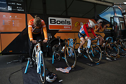 Amalie Dideriksen (DEN), Christine Majerus (LUX) and Amy Pieters (NED) of Boels-Dolmans Cycling Team prepare for Stage 2 of the Healthy Ageing Tour - a 19.6 km team time trial, starting and finishing in Baflo on April 6, 2017, in Groeningen, Netherlands.