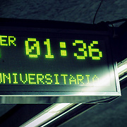 Time to next metro train (sign), Barcelona, Spain (December 2006)