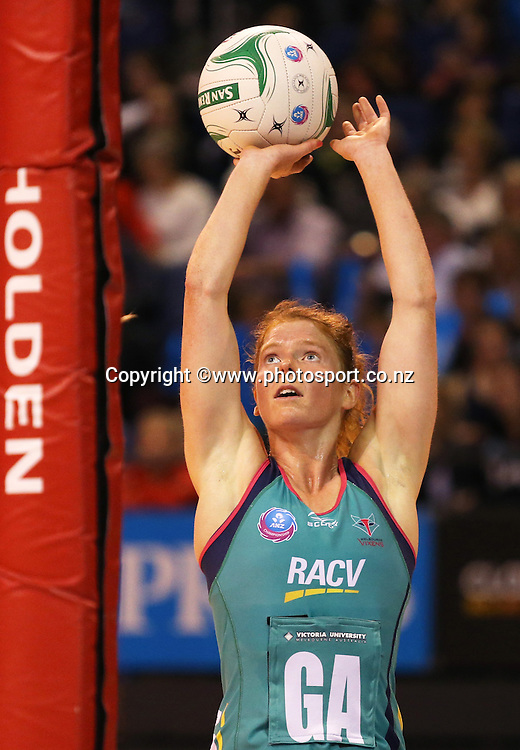 Tegan Caldwell of the Vixens shoots at goal during the ANZ Championship Netball between Mainland Tactix v Melbourne Vixens, held at CBS Arena, Christchurch. 31 March 2014 Photo: Joseph Johnson/www.photosport.co.nz
