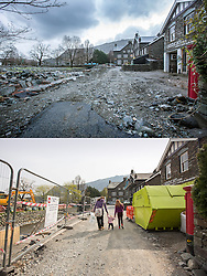 © Licensed to London News Pictures. 11/05/2016. Glenridding UK. FIVE MONTH COMPARISON OF FLOODED VILLAGE OF GLENRIDDING. Top picture taken 10/12/2015 shows Glenridding village centre after storm Desmond hit in December. Bottom picture taken 10/05/2016 shows Glenridding village centre five months on from storm Desmond. The diggers are still in the village of Glenridding five months after storm Desmond hit the area & flooded the village three times last December. Residents of the village have become frustrated at the Environment Agency after it took almost four months for the agency to start work on new flood defences leaving the village looking like a building site during the normally busy tourist period essential to get the area back on it's feet. Photo credit: Andrew McCaren/LNP