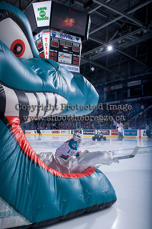 KELOWNA, CANADA - NOVEMBER 11: James Porter #1 of the Kelowna Rockets enters the ice at the start of the game against the Red Deer Rebels on November 11, 2017 at Prospera Place in Kelowna, British Columbia, Canada.  (Photo by Marissa Baecker/Shoot the Breeze)  *** Local Caption ***