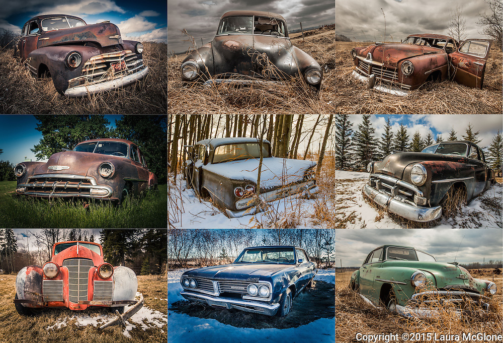 Antique Vintage Abandoned Cars Collage, Alberta Canada