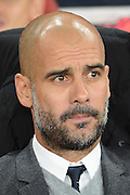 Bayern Munich manager Josep Guardiola during the Champions League  Group F match between Arsenal and Bayern Munich at the Emirates Stadium, London, England on 20 October 2015. Photo by Alan Franklin.