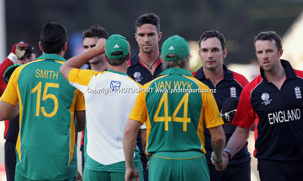 Players shakes hands after the match. ICC Cricket World Cup 2011. Africa v England. MA Chidambaram Stadium, Chepauk, Chennai, 6 March 2011. Photo: photosport.co.nz