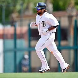 Feb 27, 2013; Lakeland, FL, USA; Detroit Tigers first baseman Prince Fielder (28) against the Atlanta Braves during the a spring training game at Joker Marchant Stadium. Mandatory Credit: Derick E. Hingle-USA TODAY Sports