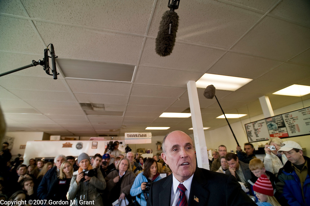 Indianola, IA - 12/29/07 - Presidential Candidate Rudolph Giuliani at a campaign event at Funaros Deli and Bakery in Indianola, IA December 29, 2007.      (Photo by Gordon M. Grant / Zuma Press)