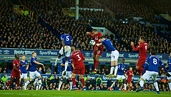 LIVERPOOL, ENGLAND - Sunday, March 3, 2019: Liverpool's Joel Matip challenges for a header with Everton's Michael Keane during the FA Premier League match between Everton FC and Liverpool FC, the 233rd Merseyside Derby, at Goodison Park. (Pic by Paul Greenwood/Propaganda)