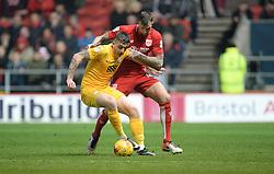 Aden Flint of Bristol City battles for the ball with Jordan Hugill of Preston North End - Mandatory by-line: Alex James/JMP - 17/12/2016 - FOOTBALL - Ashton Gate - Bristol, England - Bristol City v Preston North End - Sky Bet Championship