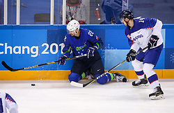 GANGNEUNG, SOUTH KOREA - FEBRUARY 17: Marcel Rodman of Slovenia vs Peter Ceresnak of Slovakia during the ice hockey match between Slovenia and Slovakia in  the Preliminary Round on day eight of the PyeongChang 2018 Winter Olympic Games at Kwangdong Hockey Centre on February 17, 2018 in Gangneung, South Korea. Photo by Kim Jong-man / Sportida