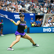 2019 US Open Tennis Tournament- Day Thirteen.    Bianca Andreescu of Canada in action against Serena Williams of the United States in the Women's Singles Final on Arthur Ashe Stadium during the 2019 US Open Tennis Tournament at the USTA Billie Jean King National Tennis Center on September 7th, 2019 in Flushing, Queens, New York City.  (Photo by Tim Clayton/Corbis via Getty Images)