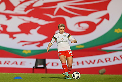NEWPORT, WALES - Tuesday, June 12, 2018: Wales' Hannah Miles during the pre-match warm-up before the FIFA Women's World Cup 2019 Qualifying Round Group 1 match between Wales and Russia at Newport Stadium. (Pic by David Rawcliffe/Propaganda)