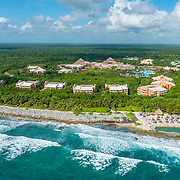 Aerial view of the Grand Palladium Resort. Akumal, Riviera Maya, Mexico.
