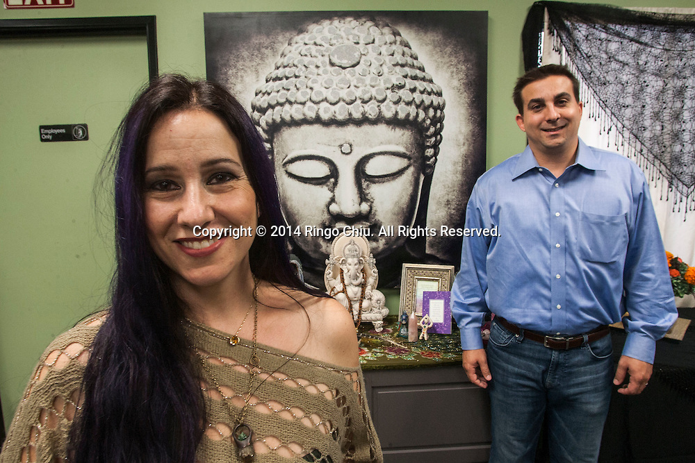 Athena Perrakis, CEO, and her husband Dave Meizlik, chief marketing officer of Sage Goddess. (Photo by Ringo Chiu/PHOTOFORMULA.com)