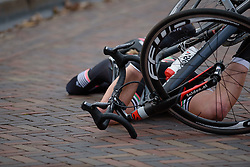 Lorena Weibes took a tumble after the finish line at Drentse 8 van Westerveld 2018 - a 142 km road race on March 9, 2018, in Dwingeloo, Netherlands. (Photo by Sean Robinson/Velofocus.com)