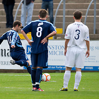 Forfar v Ayr United...16.10.10  <br /> Martyn Fotheringham scores from the spot after two peanlties had already been missed<br /> Picture by Graeme Hart.<br /> Copyright Perthshire Picture Agency<br /> Tel: 01738 623350  Mobile: 07990 594431
