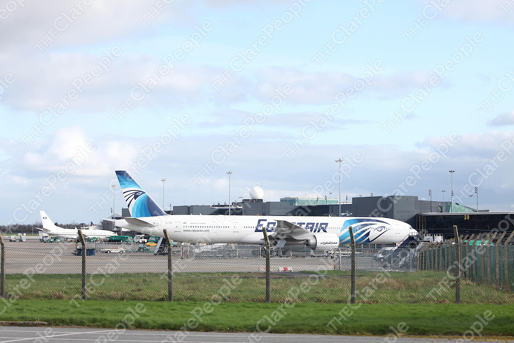 Egyptair flight 986 which declared an emergency and diverted to Shannon after suffering an engine failure over the atlantic.<br /> Pic. Brian Arthur/ Press 22.