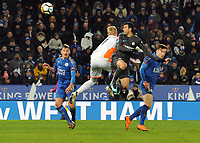 Football - 2017 / 2018 FA Cup - Quarter-Final: Leicester City vs. Tottenham Hotspur<br /> <br /> Pedro of Chelsea heads the winning goal past Kasper Schmeichel, at King Power Stadium.<br /> <br /> COLORSPORT/ANDREW COWIE