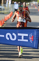 CAPE TOWN, SOUTH AFRICA - OCTOBER 08: Lebogang Shange of CGA wins the senior mens 20km during the ASA 50km and Interprovincial Race Walking Championships at Youngsfield Military base on October 08, 2016 in Cape Town, South Africa. (Photo by Roger Sedres/Gallo Images)