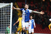 Shane Duffy of Blackburn Rovers celebrates after  scoring the second goal during the Sky Bet Championship match between Blackburn Rovers and Fulham at Ewood Park, Blackburn, England on 16 February 2016. Photo by Simon Brady.