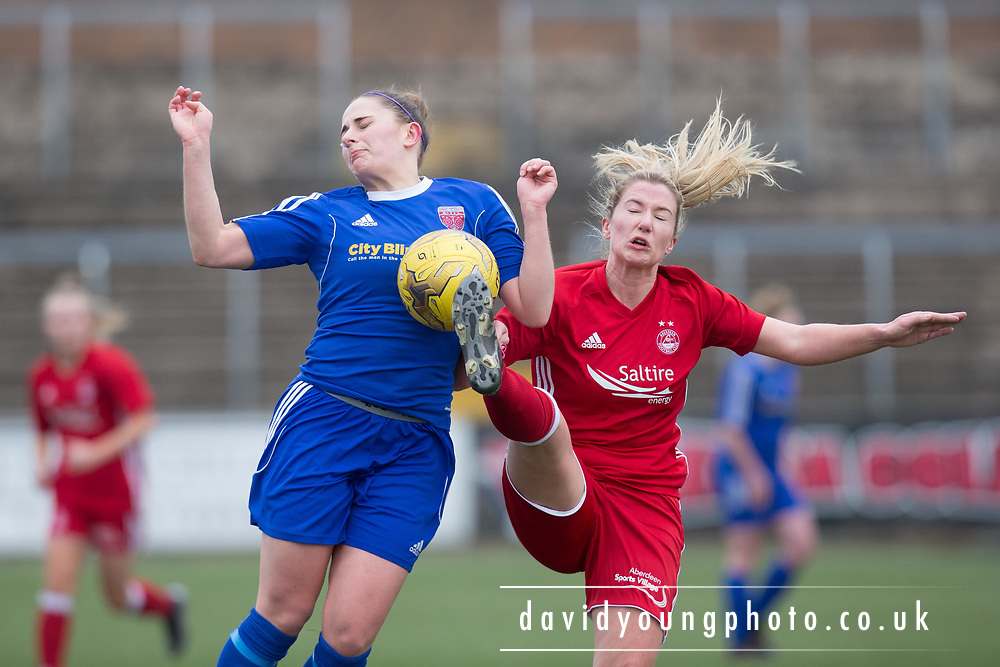 Forfar Farmington's Danni McGinley battles for the ball with Aberdeen's Kelly Forrest - Forfar Farmington v Aberdeen in the Scottish Womens' Premier League Cup round one at Station Park, Forfar<br /> <br />  - &copy; David Young - www.davidyoungphoto.co.uk - email: davidyoungphoto@gmail.com