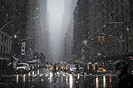 Snow flurry on the 6th avenue, New York. 28 JAN 2010.