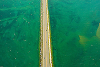 Aerial view of Lake Superior, The Mackinaw Brridge, and Upper Pennisula, Michigan