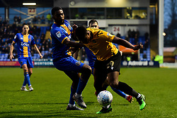 Victor Adeboyejo of Bristol Rovers is marked by Ro-Shaun Williams of Shrewsbury Town - Mandatory by-line: Ryan Hiscott/JMP - 23/11/2019 - FOOTBALL - Montgomery Waters Meadow - Shrewsbury, England - Shrewsbury Town v Bristol Rovers - Sky Bet League One
