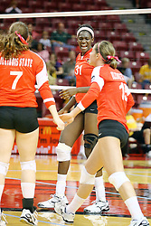 23 October 2010: Hailey Kelley shows some jubilation after a Redbird point during an NCAA, Missouri Valley Conference volleyball match between the Wichita State Shockers and the Illinois State Redbirds at Redbird Arena in Normal Illinois.