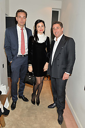 Left to right, DAVID GIGAURI, EVA LANSKA and LUCA DEL BONO at a private view 'Urushi Lacquer - East Meets West' celebrating the ancient tradition of Japanese lacquer art held at the South Kensington Club Mews House, Queensberry Mews, London SW7 on 12th March 2015.