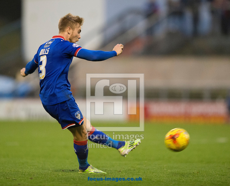 Joseph Mills of Oldham Athletic hits a free-kick at goal during the Sky Bet League 1 match at Boundary Park, Oldham<br /> Picture by Russell Hart/Focus Images Ltd 07791 688 420<br /> 31/10/2015