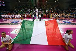 03-02-2019 ITA: Igor Gorgonzola Novara - Pomi Casalmaggiore, Verona <br /> Finali Samsung Coppa Italia 2018-2019 Pallavolo Femminile / Line up behind the Italian Flag<br /> <br /> *** Netherlands use only ***