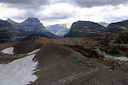 A lateral moraine (foreground) showing the edge of a glacier that disappeared from the base of Mount Clements at Logan Pass, Glacier National Park, Montana, Tuesday, October 7, 2014. In the distance are the peaks of the mountains above St. Mary Lake.